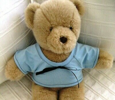 Teddy Bear Clothes, Handmade Willee Light Blue Jersey T-Shirt with Black Trim