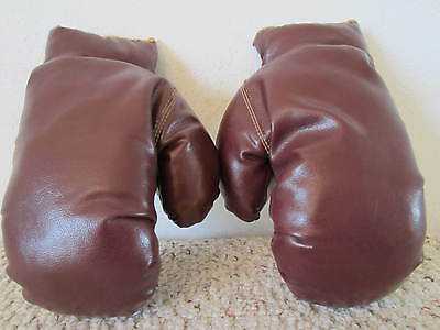 Vintage Boxing   Pair Of Child's  No Laces,  Slip On,   Leather Boxing Gloves
