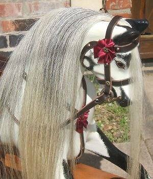 BEST Quality Rocking Horse Hair Mane, Tail & Forelock set ON HIDE - GREY S, M, L