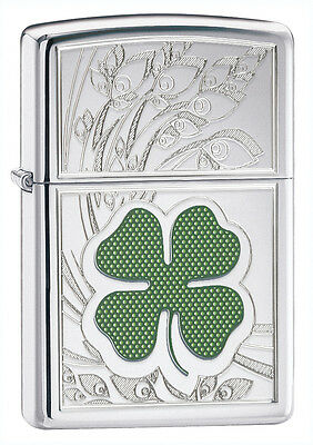 Zippo Lighter Four Leaf Clover High Pollished Chrome Personalised Engraved Free