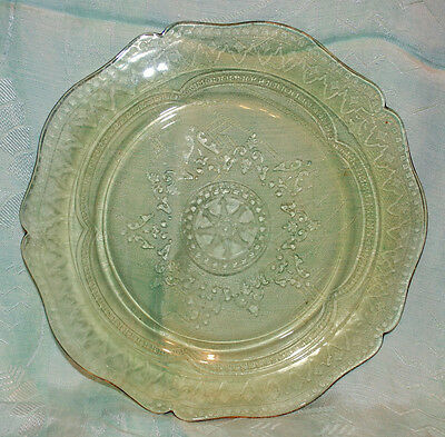 FEDERAL GLASS CO DEPRESSION PLATE PATRICIAN 'SPOKE' PATTERN AMBER GOLDEN GLO