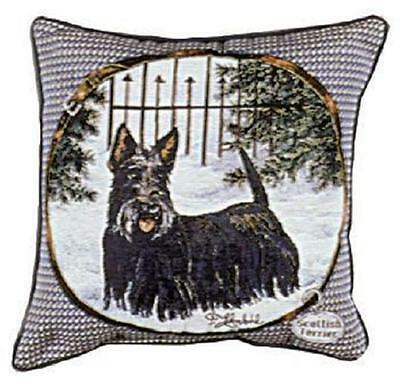 """Scottish Terrier Scotty 17"""" X 17""""  Loom Woven Tapestry Pillow Made In USA"""