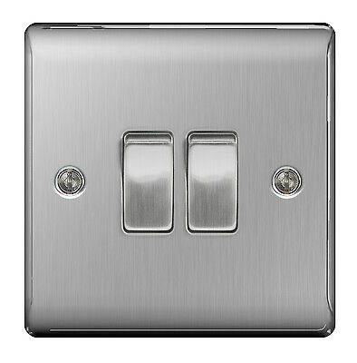 STAINLESS STEEL Double switch 2 Gang 2 Way Brushed satin - SLIMLINE - NBS42