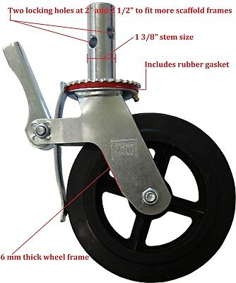 "Four New Scaffolding 8"" Rubber Caster Wheels with Double Locks CBM"