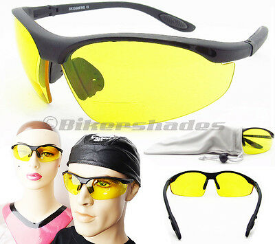 9004b2931f BIFOCAL NIGHT VISION Glasses Yellow Lens Motorcycle Driving Cycling Z87  Safety