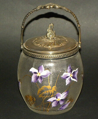 SUPERB FRENCH ART NOUVEAU FROSTED & ENAMELED GLASS BISCUIT JAR BY DAUM OR LEGRAS