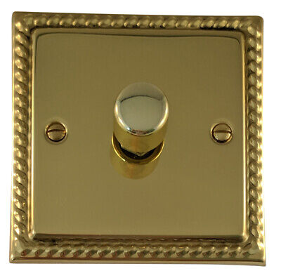 G&H MB11 Monarch Roped Polished Brass 1 Gang 1 or 2 Way 40-400W Dimmer Switch