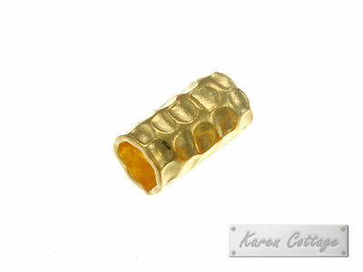 Karen Hill Tribe Silver : Gold vermeil Large Hole Hammered Tube Bead ,5mm