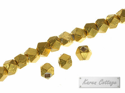 Karen Hill Tribe Silver : Gold vermeil Plain Faceted Cube Spacer ,3mm
