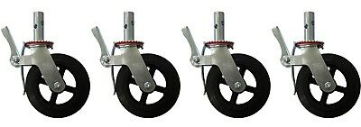 "4 Scaffolding Frame 8"" Rubber Caster Wheels with Double Scaffold Step Locks CBM"
