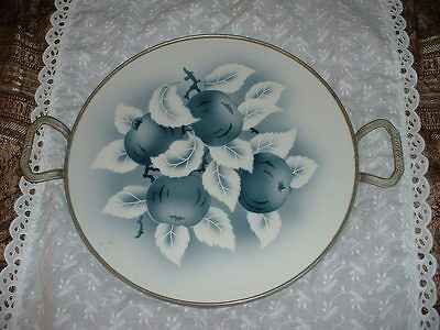 German Porcelain and Pewter Tray! GORGEOUS!   MINT!!!! FREE SHIPPING