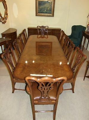 Twin Pedestal Walnut Burr Dining Table Twin Leaf
