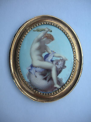 Miniature Enamel Nude Female Lady Riding Fish by Jules Crosnier Beauty is Power!