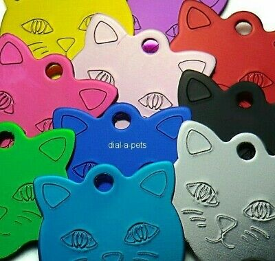 5 for £9.99 Coloured CAT Kitten Face Small Disc ID Collar Name Tags Engraved PET