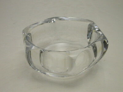 """Orrefors 6 Sided Bowl Clear Leaded Crystal 3 3/4"""" D Signed OF FA 1932/1"""