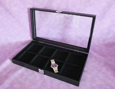 8 Slot Multi Purpose Glass Top Jewelry Display Case