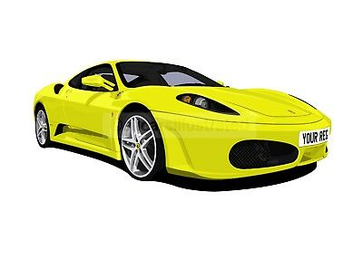 Ferrari F430 Car Art Print. Choose Your Colour, Add Your Reg Plate