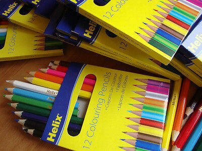 288 HELIX COLOURING PENCILS HALF SIZE - 24 Wallets of 12