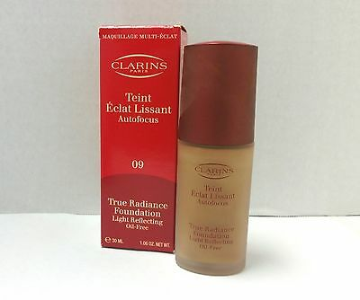 CLARINS TRUE RADIANCE FOUNDATION CAPPUCCINO 09 NEW IN BOX 1.06OZ/30ML