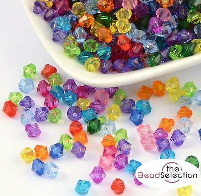 ACRYLIC FACETED BICONE BEADS 4mm  6mm  8mm COLOUR CHOICE TOP QUALITY