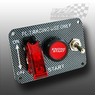 Ignition Engine Start Push Button Switch Carbon Fibre Panel Racing Switch