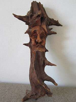 Vintage, Wooden Tree Branch Carving Of Old Mountain Man