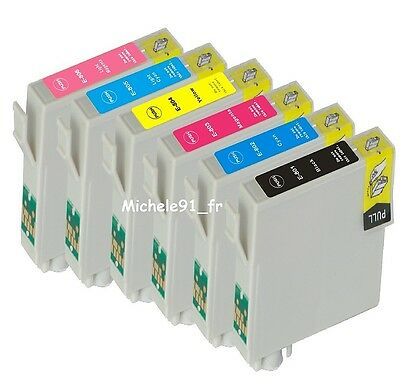 PACK DE 6 CARTOUCHES non-OEM EPSON STYLUS PHOTO PX650 ...TO801 à TO806 puces