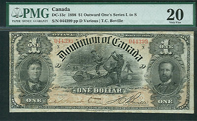 CANADA, $1 Outward One's Series N #DC-13c PMG Grade 20
