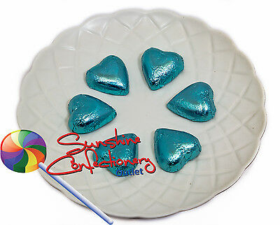 CHOCOLATE FOIL HEARTS - (Ice Blue) 50 Hearts - Wedding Favours Post Included