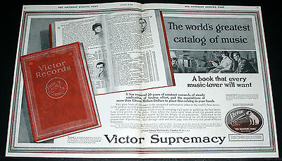 1918 Old Magazine Print Ad, Victor Victrola Red Seal Caruso Records, Supremacy!