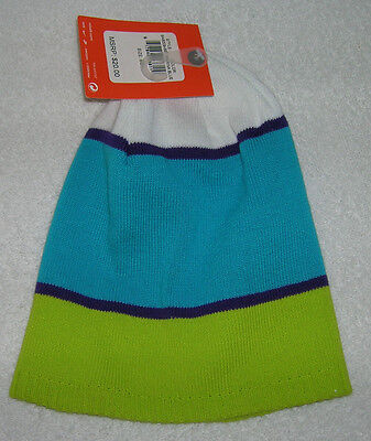 new product 2ed81 bc955 NEW Nike 6.0 Beanie Hat Striped Marina Blue White Lime Youth 8-20 9A8009-