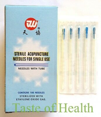 0.25 x 40mm Sterilized Acupuncture Needle, 100pcs with Guide Tubes Super Quality