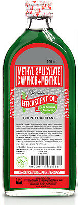 *298+ SOLD* 100% Genuine EFFICASCENT OIL METHYL SALICYLATE CAMPHOR+MENTHOL 100ml