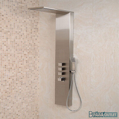 Complete Shower Modern Steel Wall Mounted Thermostatic Tap Mixer Panel System