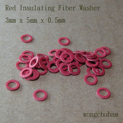 50pcs Red Insulating Fiber Washer (3mm x 5mm x 0.5mm)