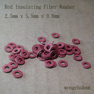 50pcs Red Insulating Fiber Washer 2.5mm x 5.5mm x 0.8mm