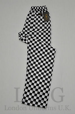 Black&White check chef trousers back pocket QUALITY L&G London Uniforms S,M,L,XL