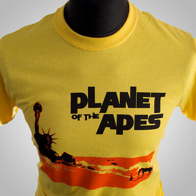 Planet of The Apes Movie Themed Retro T Shirt Sci Fi Vintage 1968 Cool Yellow