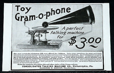 1900 Old Magazine Print Ad, Consolidated, Toy Gram-O-Phone, For Christmas!