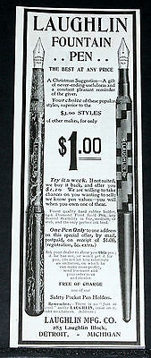 1900 Old Magazine Print Ad, Laughlin Fountain Pen, The Best At Any Price, Xmas!