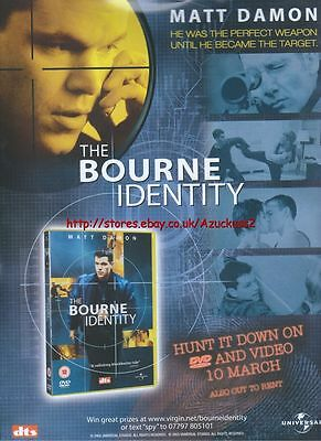 The Bourne Identity DVD & Video 10th March 2003 Magazine Advert #91