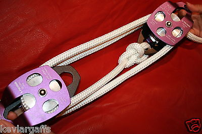 Twin sheave block and tackle 7500Lb pulley system 150 feet 1/2 Double Braid Rope
