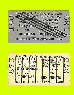 2 different Isle of Man Railway 'Barred line' Special Excursion tickets