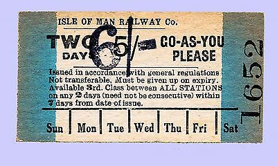 Isle of Man Railway re-priced 1940 2 Day GAYP Ticket for 1946 season
