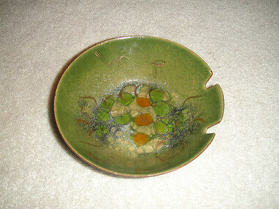 Vintage Sascha B Brastoff Ceramic Painted Ashtray-Green-Signed-Beautifull