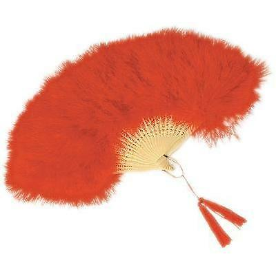 Marabou Feather Folding Fan Red or White