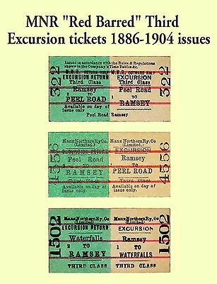 IOM Manx Northern Railway 'Red Barred' Excursion Tickets 1886-1904 issues