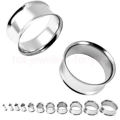 Flesh Tunnel Silver Double Flared 316L Stainless Steel Stretcher Ear Plug