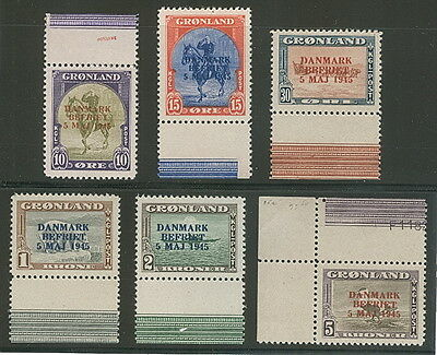 GREENLAND #22a-27a (22-7v) Complete set Wrong Color ovpts, all margin singles,