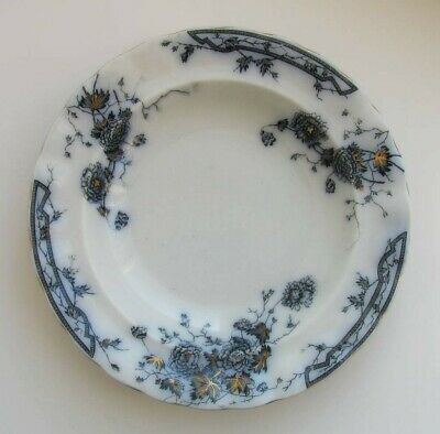"Porcelaine Opaque, Bridgwood, 9"" Flow Blue Gray Bowl"